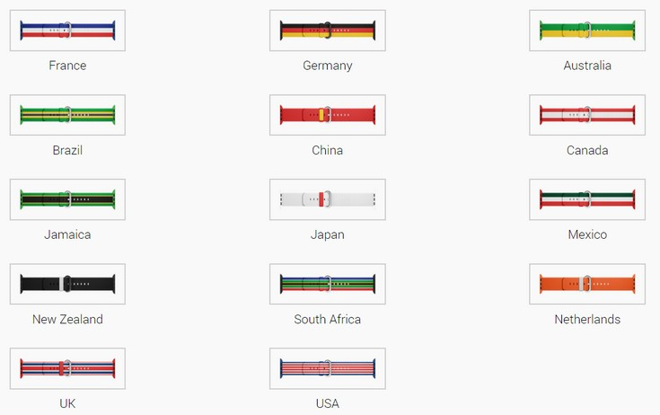 Apple выбрала 14 стран для изображения их флагов на ремешках для часов Watch