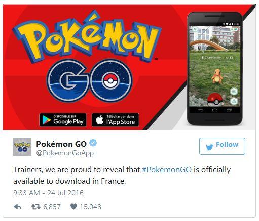 Список стран, где игра Pokemon Go становится доступна для загрузки, постепенно расширяется