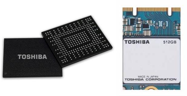 В однокорпусном SSD Toshiba используется флэш-память TLC BiCS FLASH