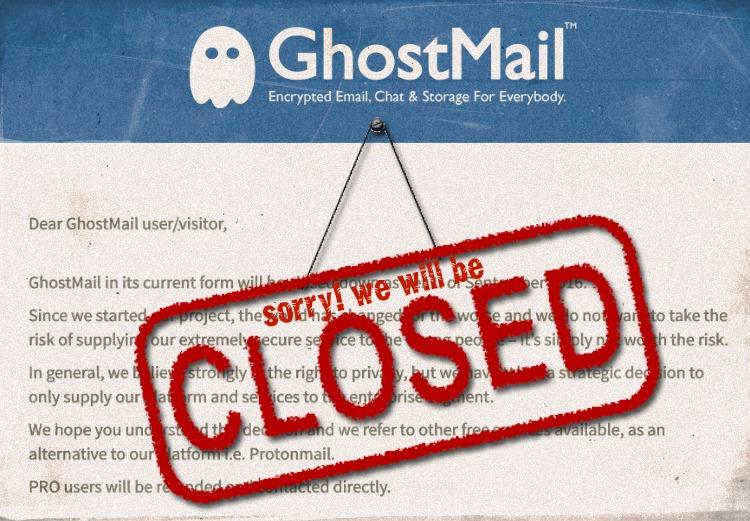 Сверхзащищенный почтовый сервис GhostMail прекращает работать с обычными пользователями - 1