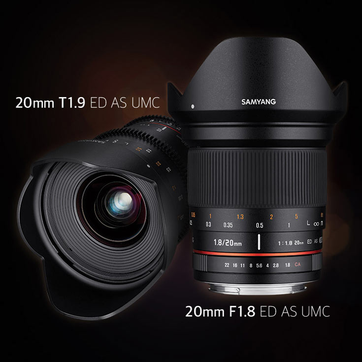 Продажи объективов Samyang 20mm F1.8 ED AS UMC и 20mm T1.9 ED AS UMC должны начаться в сентябре
