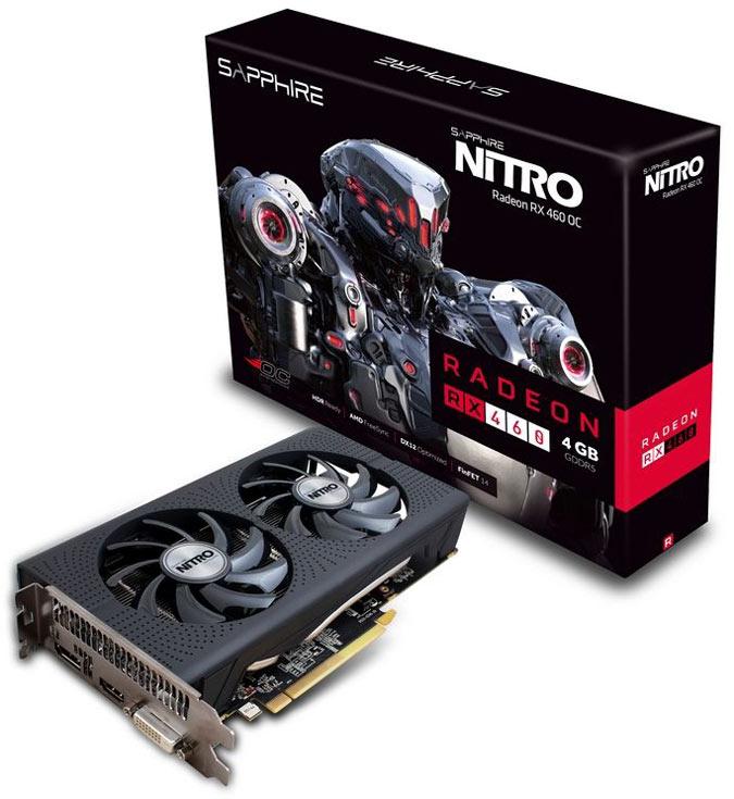 Системы охлаждения 3D-карт Nitro Radeon RX 460 с 2 м 4 ГБ памяти имеют по два вентилятора