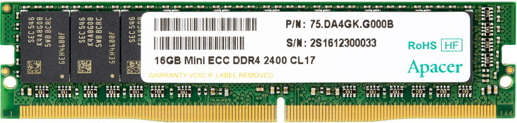 Высота модулей Apacer VLP DDR4 Mini ECC UDIMM равна 18,75 мм