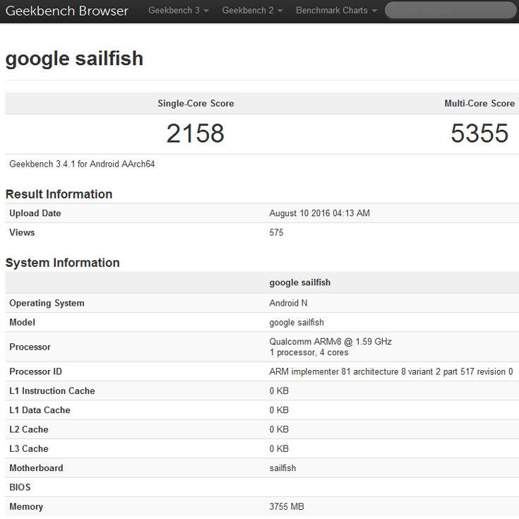 В оснащение смартфона Google Nexus 2016 (Sailfish) войдут камеры разрешением 12 и 8 Мп, дактилоскопический датчик и порт USB-C
