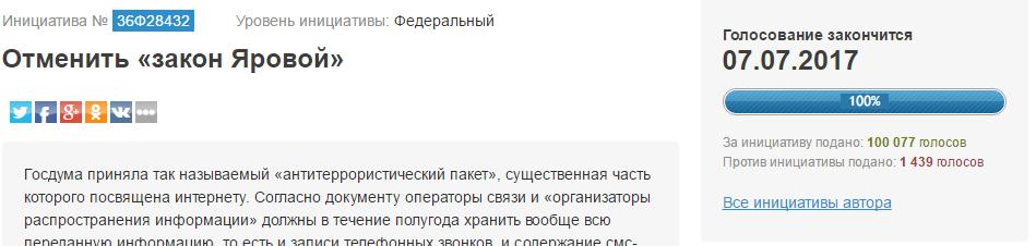 Петиция за отмену пакета Яровой набрала нужное количество голосов + опрос - 1