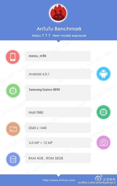 В базе AnTuTu замечен смартфон Meizu с SoC Exynos 8890