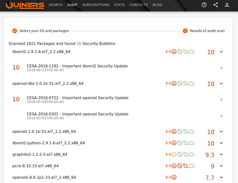 Аудит уязвимостей Linux c Vulners.com - 5