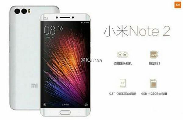Инсайдер опубликовал изображения и характеристики смартфона Xiaomi Mi Note 2