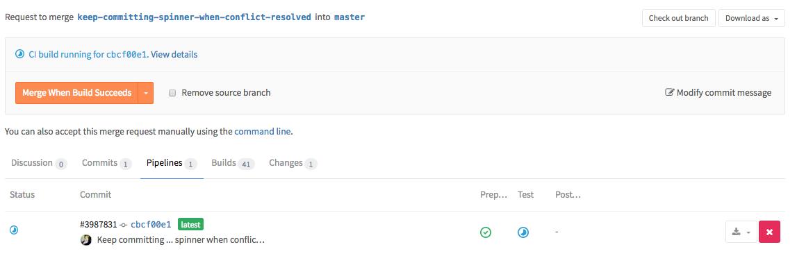 Pipelines in merge requests in GitLab 8.11