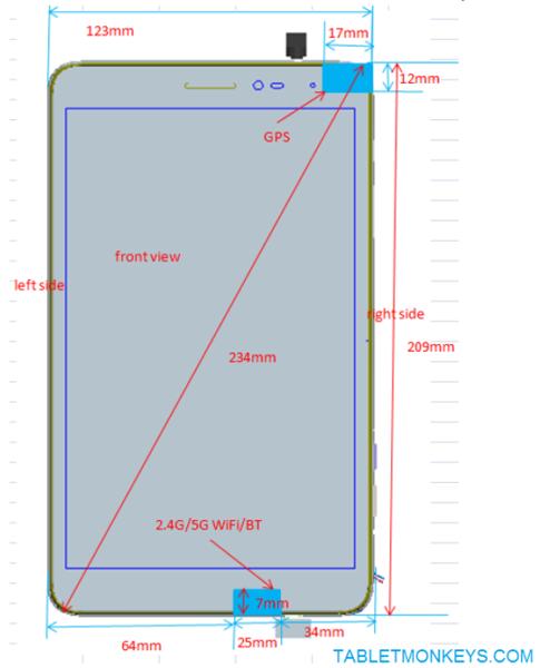 Изображение MediaPad T2 8.0 Pro, представленное Huawei FCC