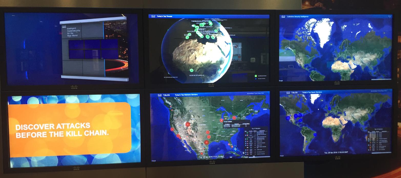 Интерактивная стена безопасности в офисе Cisco