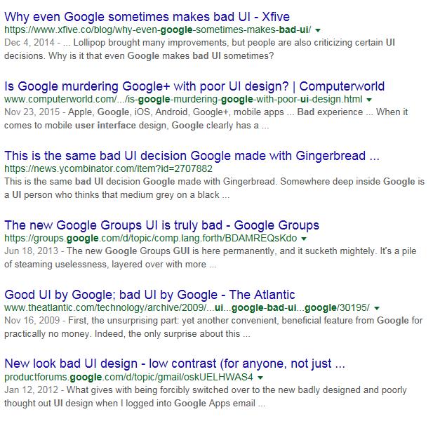 Поисковый запрос плохой интерфейс Google