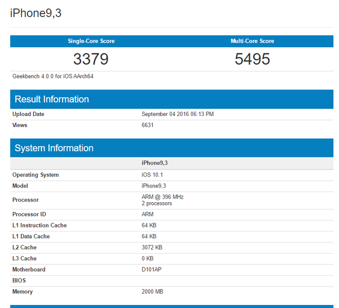 SoC Apple A10 набирает в Geekbench 3379 баллов