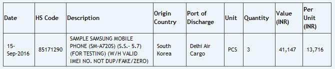 Судя по декларации, аппарат с индексом SM-A720F оснащен дисплеем размером 5,7 дюйма по диагонали