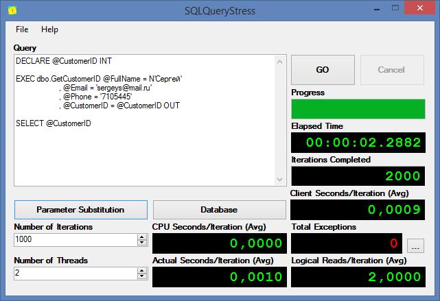 Тестирование производительности баз данных при помощи tSQLt и SQLQueryStress - 6