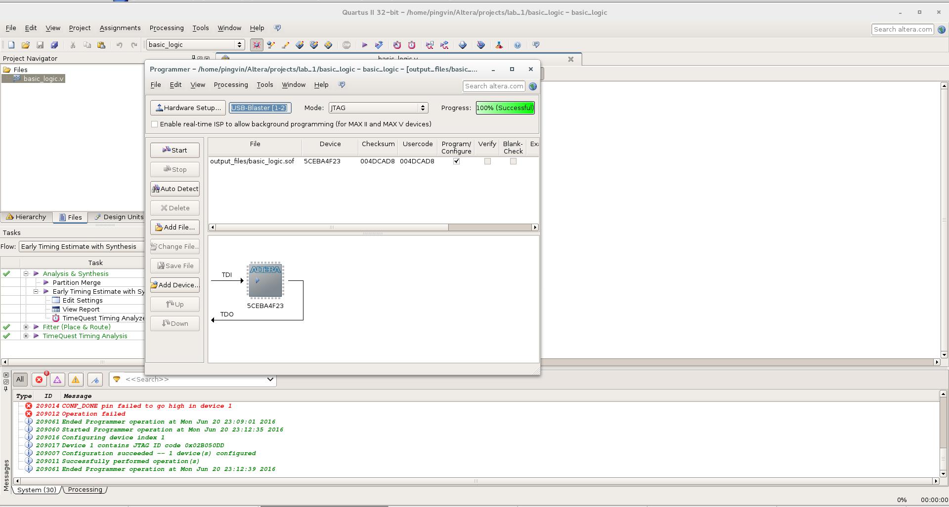 Первый проект на FPGA Altera и подключение USB-Blaster в Linux - 23