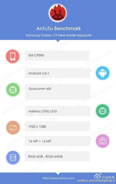 Смартфон Samsung Galaxy C9 подойдёт фанатам сэлфи