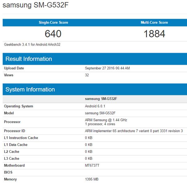 Смартфон Samsung Galaxy Prime получит SoC MediaTek MT6737T