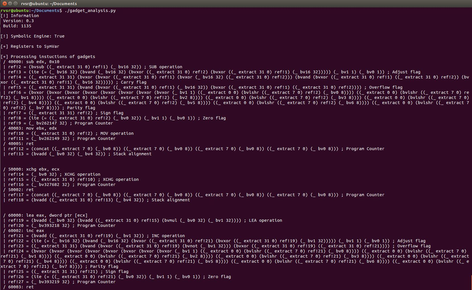 Анализ ROP-гаджетов при помощи Фреймворка Triton. 1