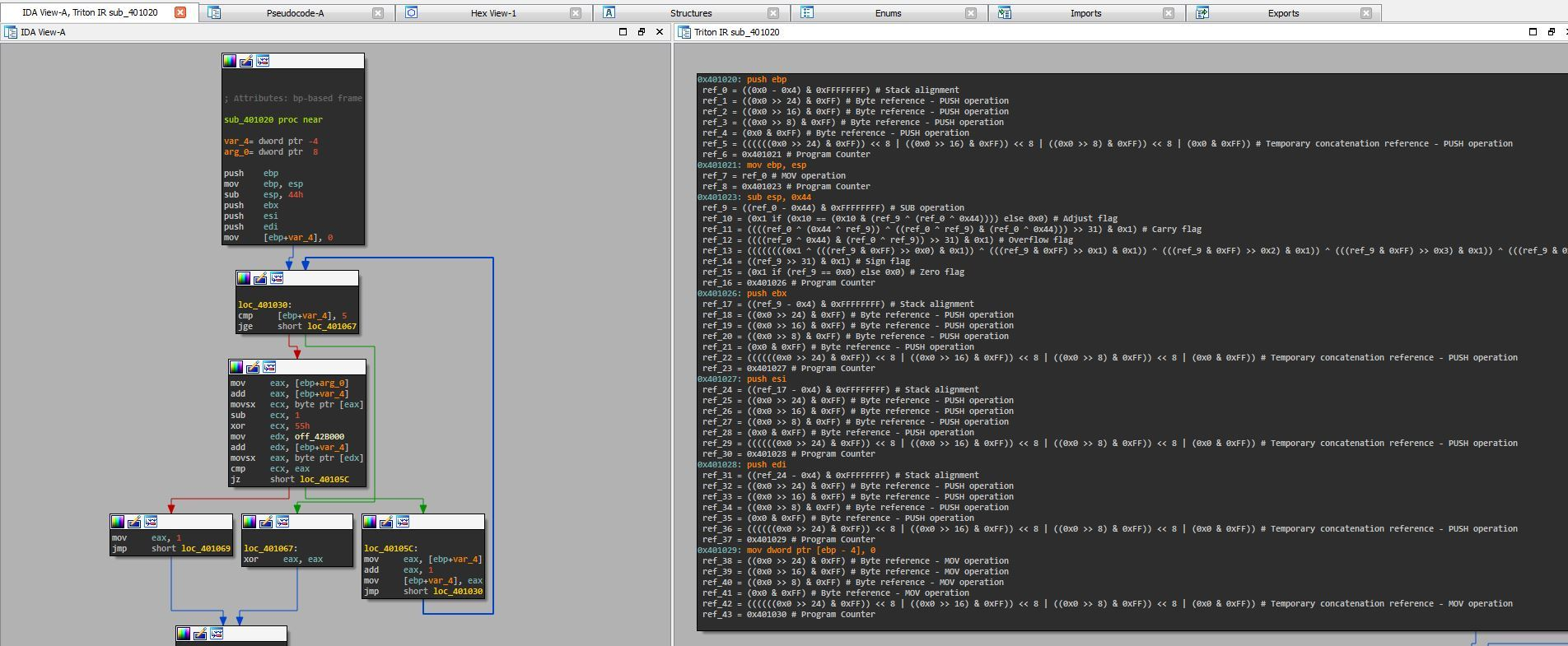 Работа с Фреймворком Triton через IDA Pro