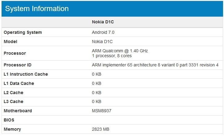Смартфон Nokia D1C построен на однокристальной системе Qualcomm Snapdragon 430