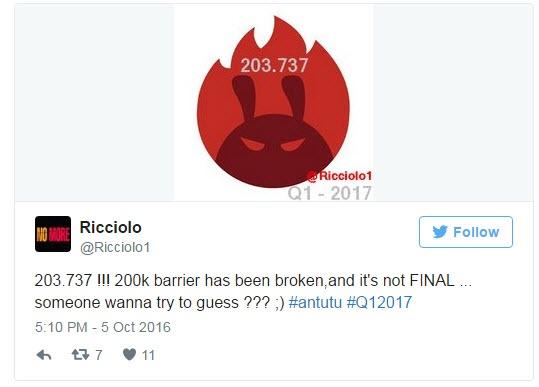 Неизвестный смартфон, который выйдет в первом квартале 2017, набрал 203 737 баллов в AnTuTu