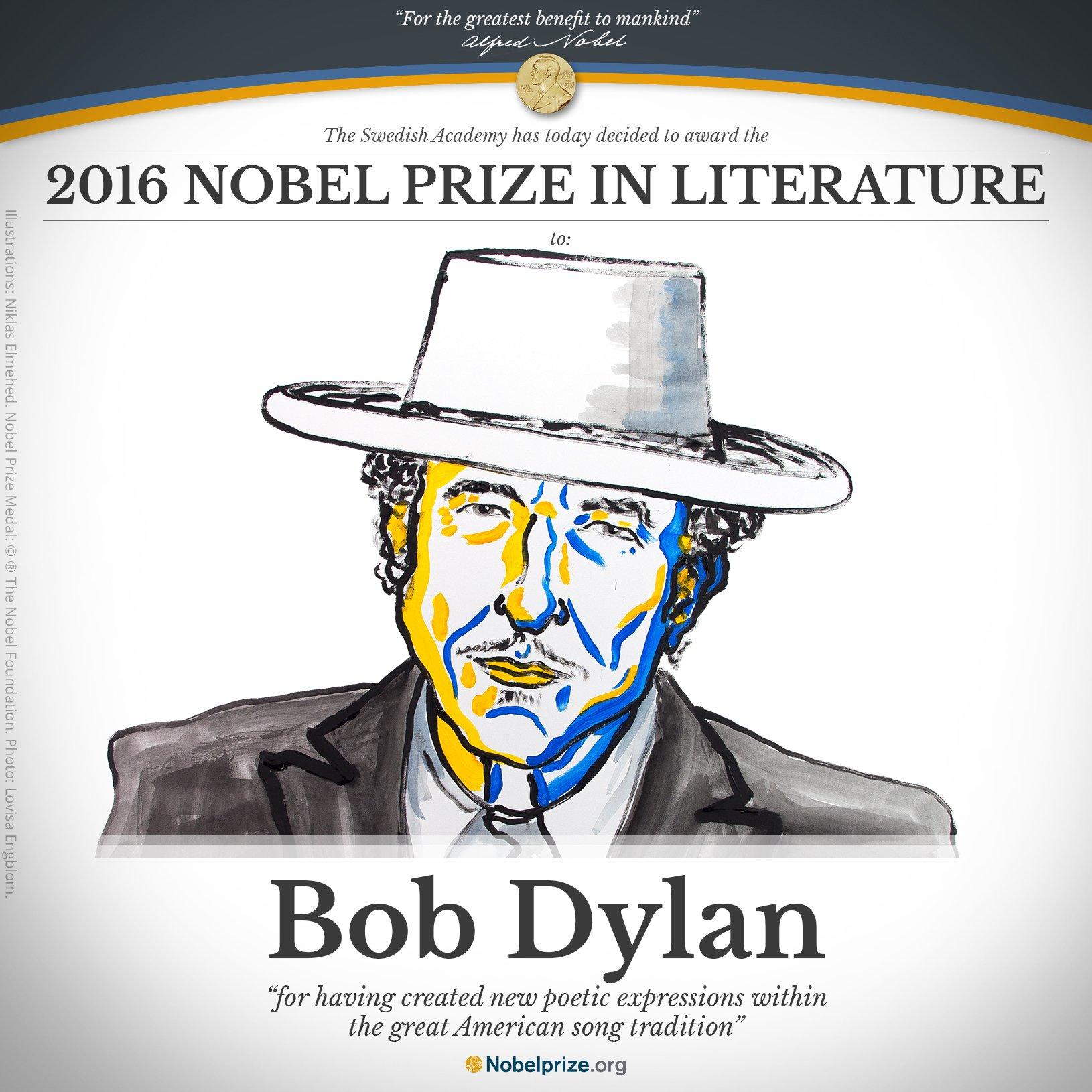 Нобелевскую премию по литературе получил американский исполнитель Боб Дилан - 1