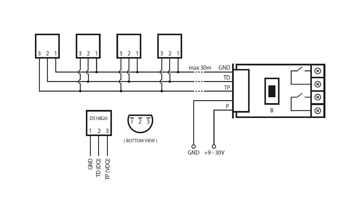 Подключение датчиков температуры DS18B20