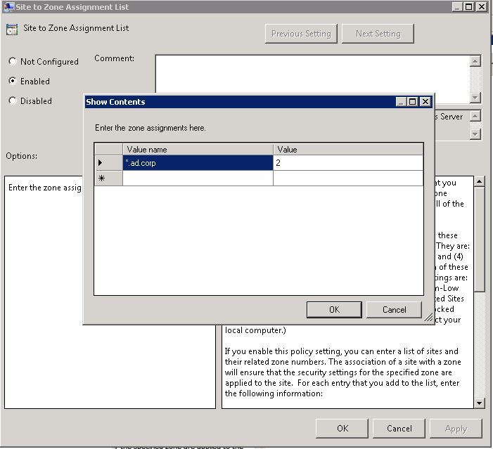 Site to Zone Assignment list и Internet Explorer с включенной Enhanced Security Configuration - 3