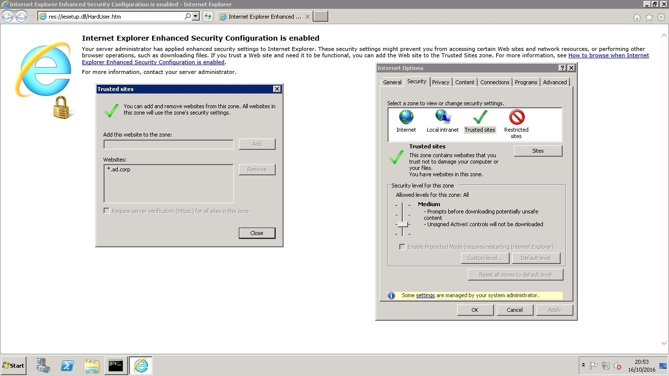 Site to Zone Assignment list и Internet Explorer с включенной Enhanced Security Configuration - 7