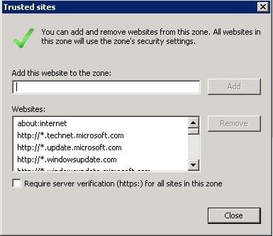 Site to Zone Assignment list и Internet Explorer с включенной Enhanced Security Configuration - 1
