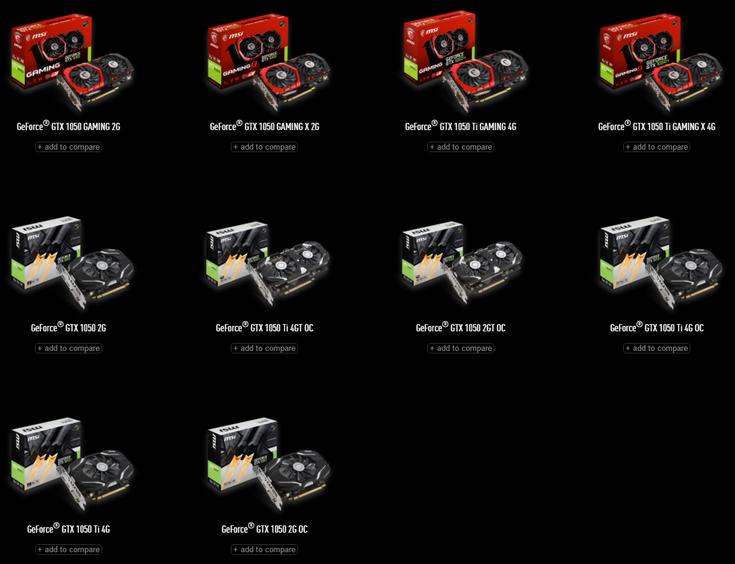 MSI представила сразу 10 видеокарт GeForce GTX 1050 и GTX 1050 Ti - 1