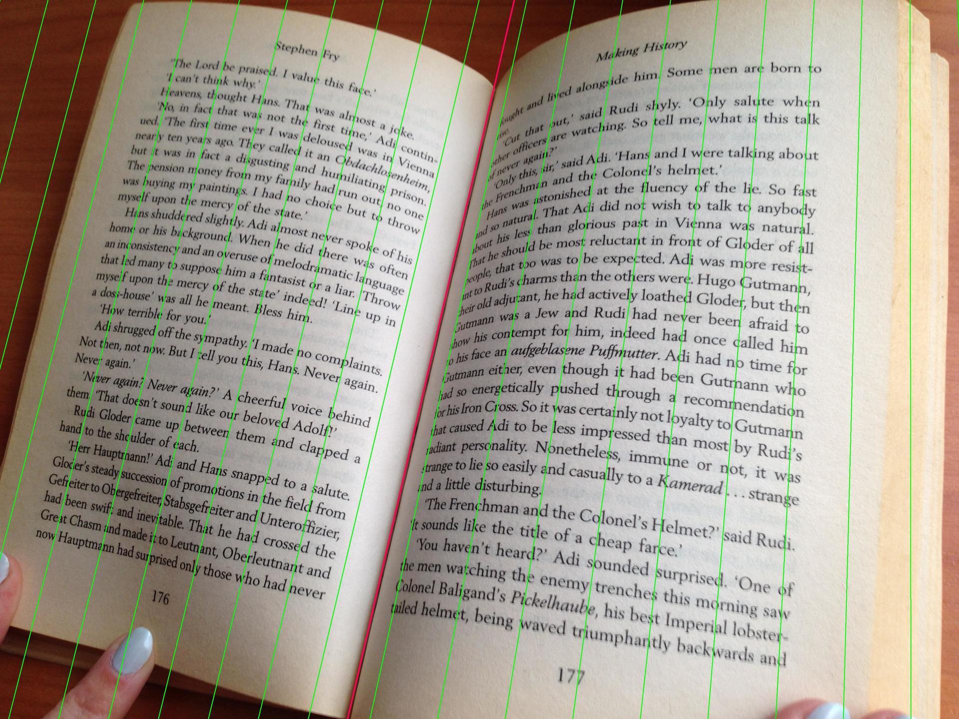 Устранение перспективных искажений и разгибание кривых строк на фотографиях книжных разворотов - 1