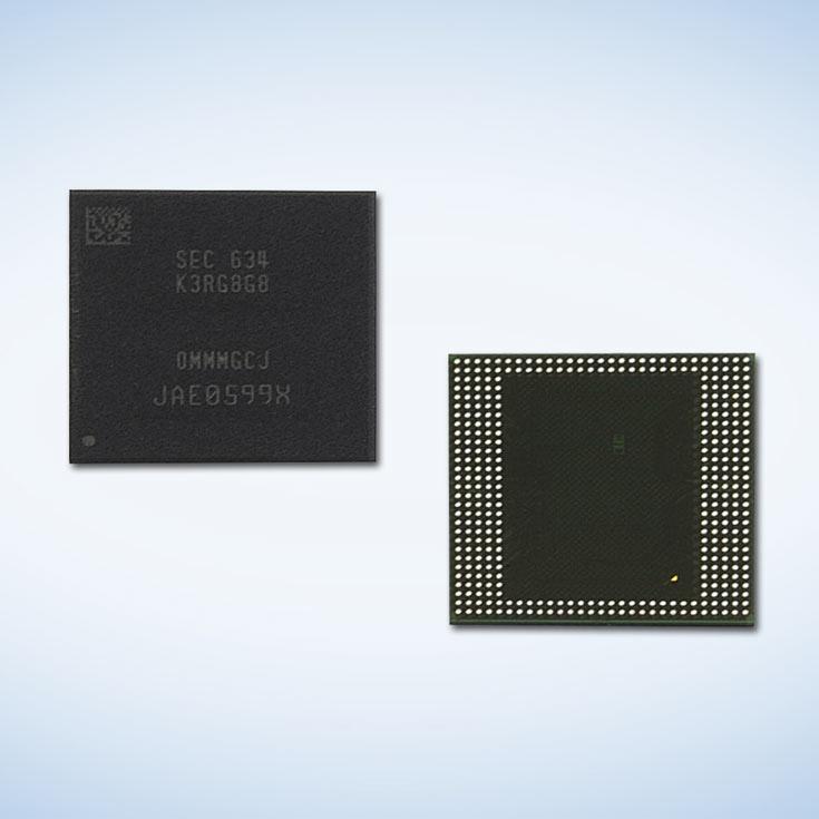 Микросхемы памяти Samsung LPDDR4 DRAM объемом 8 ГБ предназначены для мобильных устройств