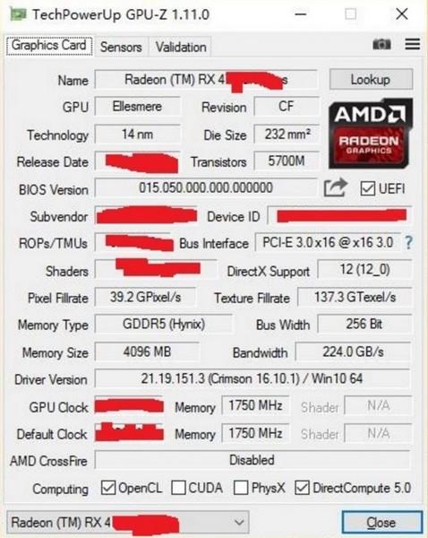 AMD выпустит новую карту с GPU Polaris 10