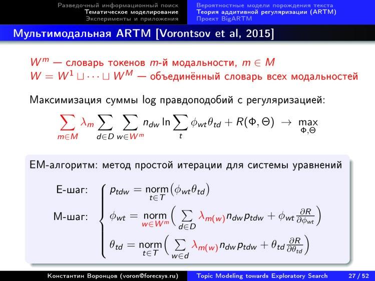Тематическое моделирование на пути к разведочному информационному поиску. Лекция в Яндексе - 22