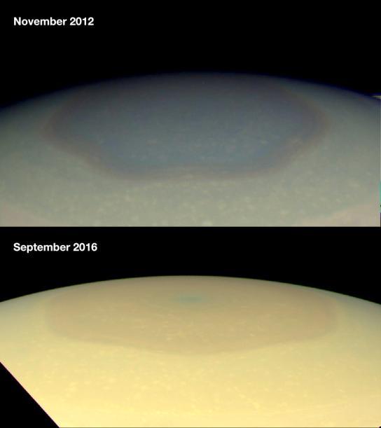 Шестиугольный шторм на Сатурне поменял свой цвет — и никто не знает, почему - 3