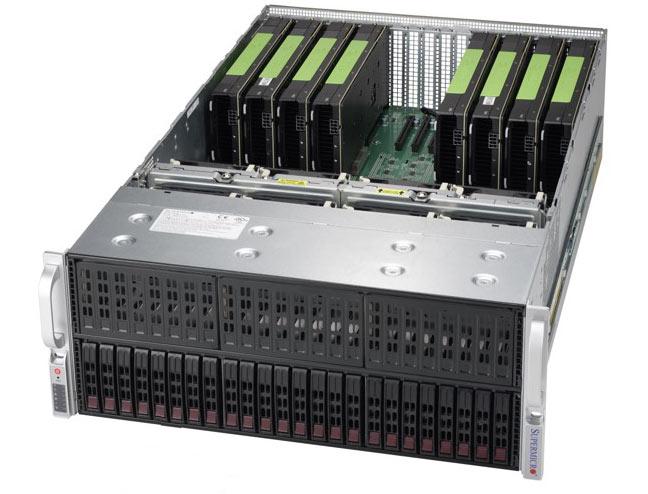 Конфигурация модели SuperServer 4028GR-TXR(T) может включать до восьми ускорителей Tesla P100 SXM2