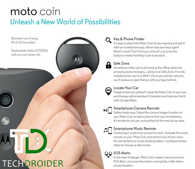 Брелок Moto Coin работает от элемента питания до года