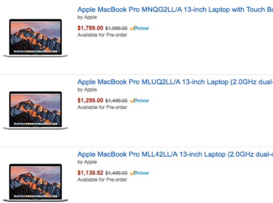 Amazon по ошибке снизил цены на новые MacBook Pro, предложив скидки до $359