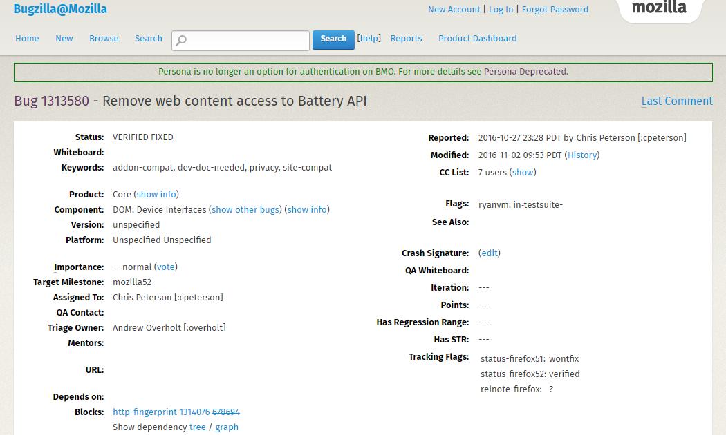Из Firefox 52 удалят API уровня заряда аккумулятора для сохранения приватности пользовательских данных - 1