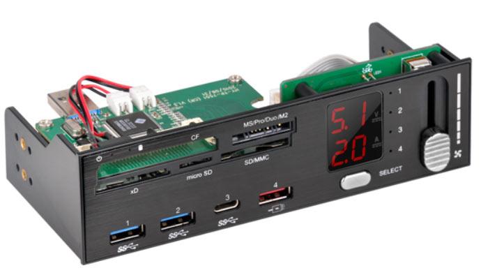 Панель ввода-вывода SilverStone FP59 оснащена дисплеем для отслеживания напряжения и тока