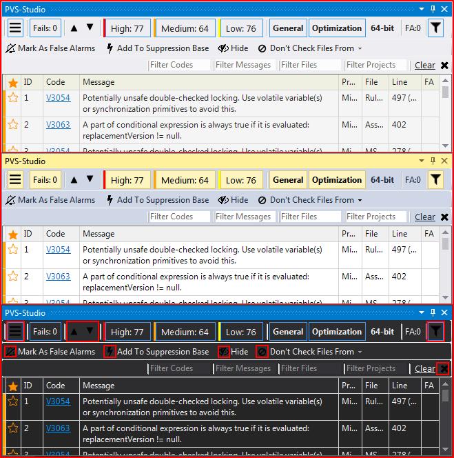 Рисунок 5 - Проблемы с отображением иконок в темной цветовой схеме Visual Studio.