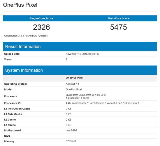 В базе данных GeekBench замечает смартфон OnePlus Pixel