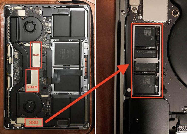 В старших версиях новых ноутбуков Apple MacBook Pro SSD припаян к системной плате