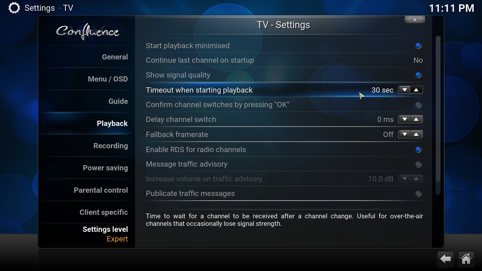 kodi settings timeout channel switch screenshot