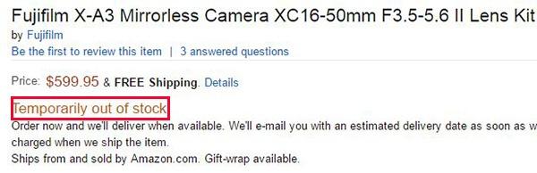 Fujifilm X-A3 пока невозможно купить
