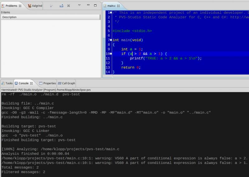 Встраиваем PVS-Studio в Eclipse CDT (Linux) - 3