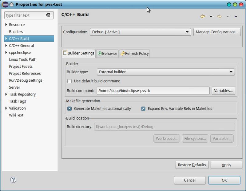 Встраиваем PVS-Studio в Eclipse CDT (Linux) - 4