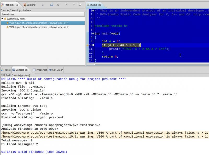 Встраиваем PVS-Studio в Eclipse CDT (Linux) - 5